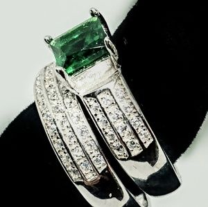 Jewelry - Created Emerald 925 Sterling Silver Set - Size 7